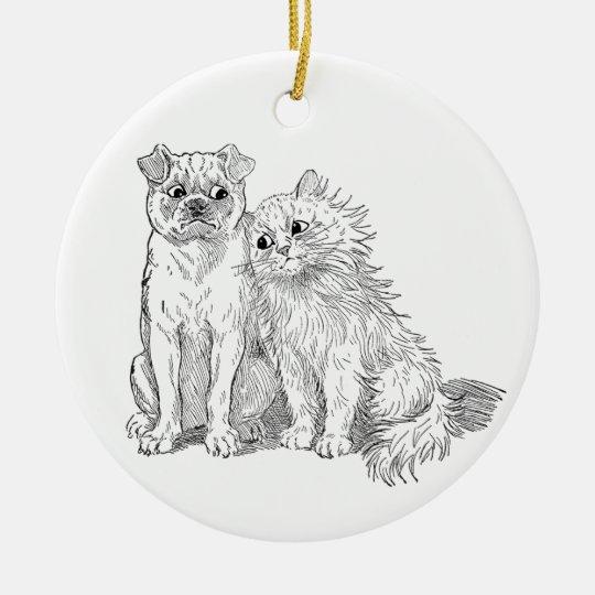 Cat Cuddles Up to Dog Ceramic Ornament