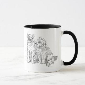 Cat Cuddles Up to Dog Mug