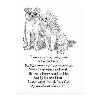 Cat Cuddles Up to Dog Postcard