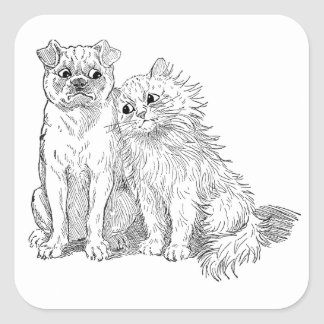 Cat Cuddles Up to Dog Square Sticker