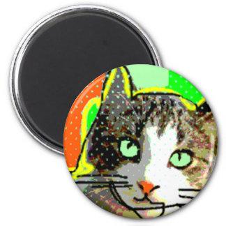 Cat cute 2 inch round magnet