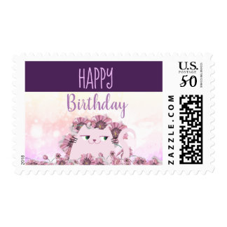 Cat Cute Birthday Floral Spring Purple Bloom Chic Postage