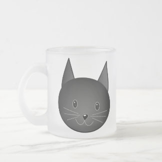 Cat. Cute black kitty. Frosted Glass Coffee Mug