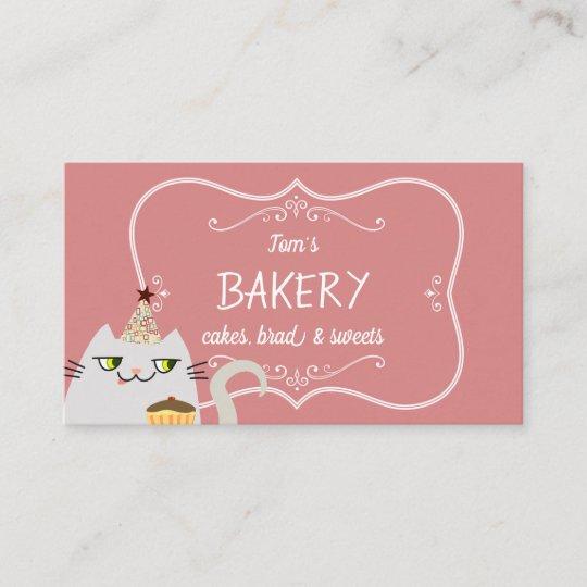 Cat Cute Cartoon Bakery Pastry Vintage Pink Sweet Business Card