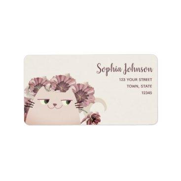 Bride Themed Cat Cute Spring Floral Purple Blossom Chic Bride Label