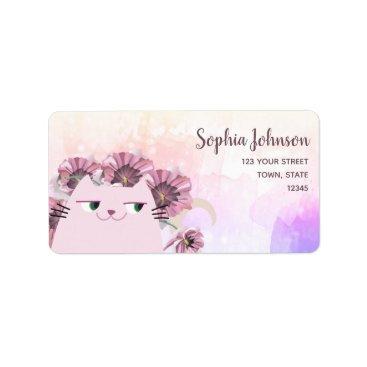 Bride Themed Cat Cute Spring Floral Purple Blossom Watercolor Label