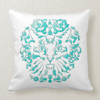 Cat Damask (Turquoise) Pillow