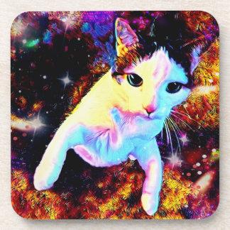 Cat Dance Kitty Colorful Cute Disco Coaster