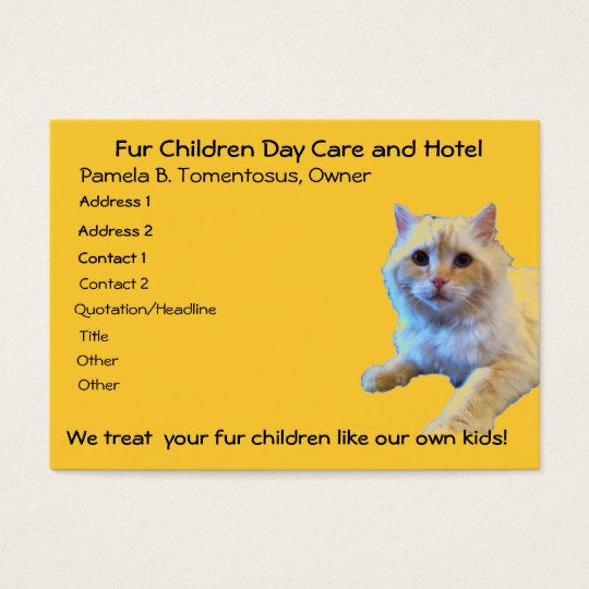 Cat Day Care Pet Hotel Business Card