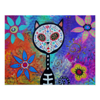 CAT DAY OF THE DEAD PAINTING POSTER
