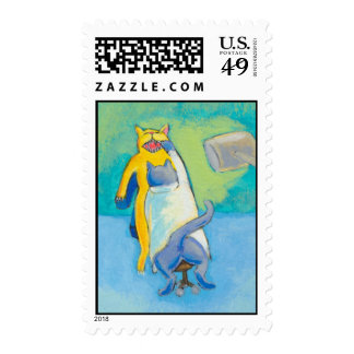 Cat Dentist fun unique whimsical illustration art Postage Stamp