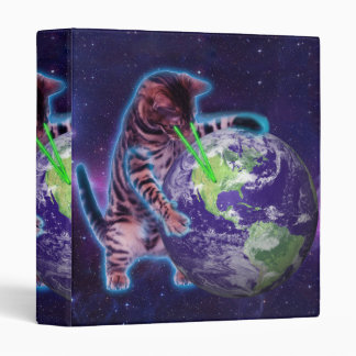 Cat destroying the world with eye laser 3 ring binder