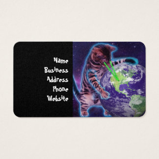 Cat destroying the world with eye laser business card