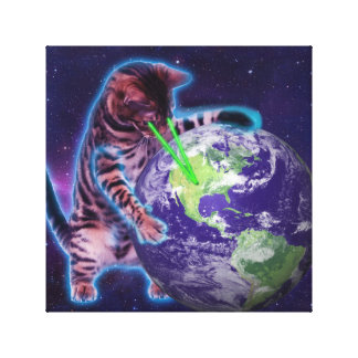 Cat destroying the world with eye laser canvas print