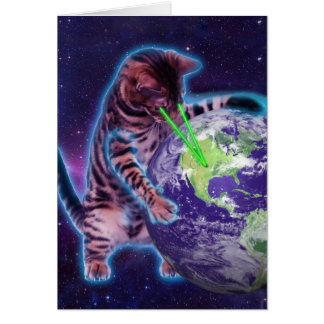 Cat destroying the world with eye laser card