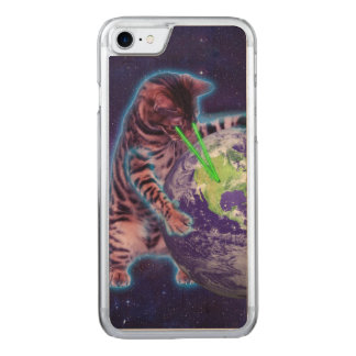Cat destroying the world with eye laser carved iPhone 7 case