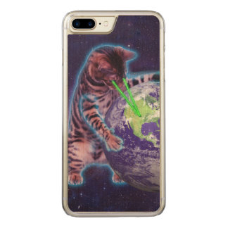 Cat destroying the world with eye laser carved iPhone 7 plus case
