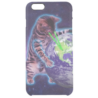 Cat destroying the world with eye laser clear iPhone 6 plus case