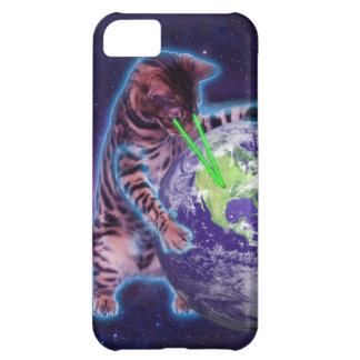 Cat destroying the world with eye laser iPhone 5C cover