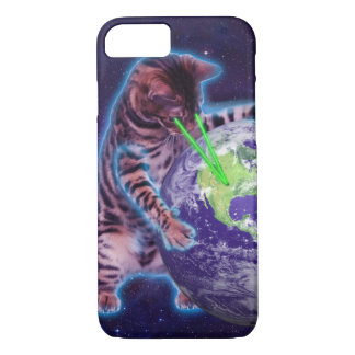Cat destroying the world with eye laser iPhone 7 case