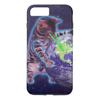 Cat destroying the world with eye laser iPhone 7 plus case