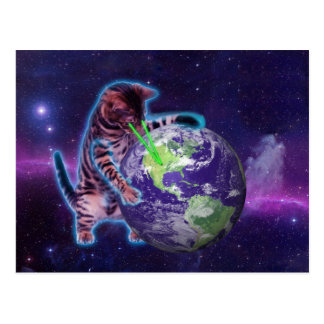 Cat destroying the world with eye laser postcard