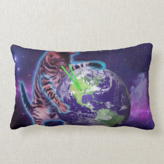 Cat destroying the world with eye laser throw pillow