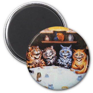 Cat Dinner Party Louis Wain Artwork 2 Inch Round Magnet