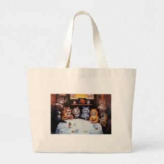 Cat Dinner Party Louis Wain Artwork Canvas Bags