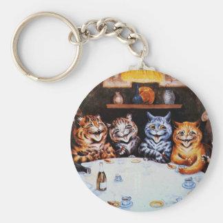 Cat Dinner Party Louis Wain Artwork Basic Round Button Keychain