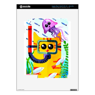 Cat Diver Decals For iPad 3
