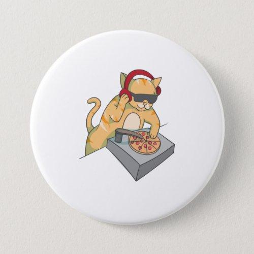 Cat DJ Pizza  Cool Kitty Disc Jockey Funny M Button