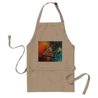 Cat dj with disc jockey's sound table adult apron