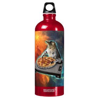 Cat dj with disc jockey's sound table aluminum water bottle