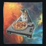 """Cat dj with disc jockey&#39;s sound table bandana<br><div class=""""desc"""">cat memes , funny cats , disc jockey, party meme music sound,  galaxy purple cosmic disco,  universe cats cute pet , kitten colorful feline cat  , animal ginger pets animals ,  kitty adorable fluffy beautiful,  young domestic happy tabby , </div>"""