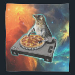"""Cat dj with disc jockey's sound table bandana<br><div class=""""desc"""">cat memes , funny cats , disc jockey, party meme music sound,  galaxy purple cosmic disco,  universe cats cute pet , kitten colorful feline cat  , animal ginger pets animals ,  kitty adorable fluffy beautiful,  young domestic happy tabby , </div>"""