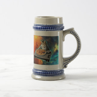 Cat dj with disc jockey's sound table beer stein
