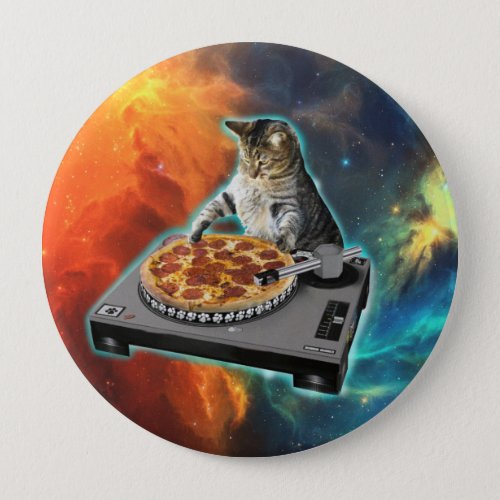 Cat dj with disc jockey's sound table button