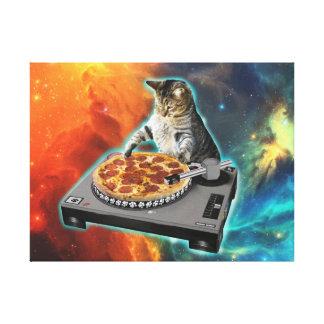 Cat dj with disc jockey's sound table canvas print