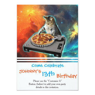 Cat dj with disc jockey's sound table card