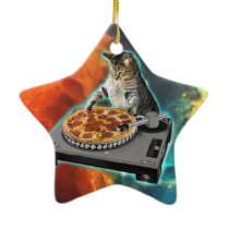 Cat dj with disc jockey's sound table ceramic ornament