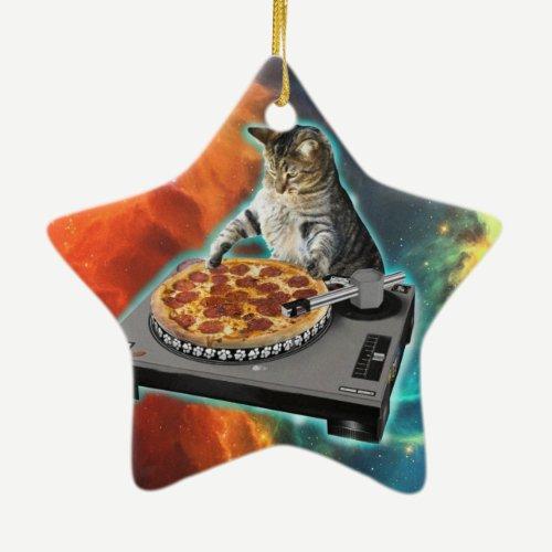 Cat dj with disc jockey's sound table ceramic ornament