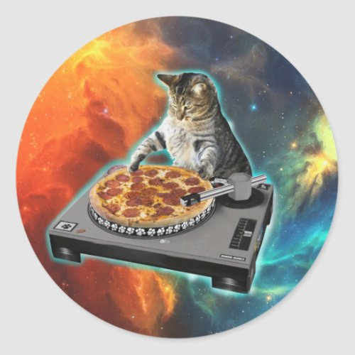Cat dj with disc jockey's sound table classic round sticker