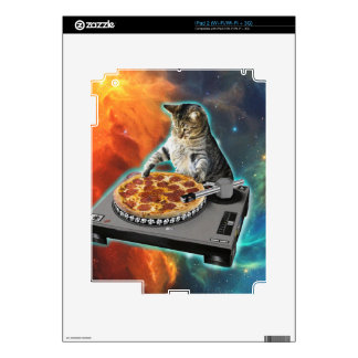Cat dj with disc jockey's sound table decals for the iPad 2