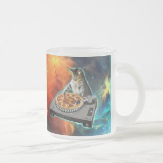 Cat dj with disc jockey's sound table frosted glass coffee mug