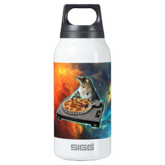 Cat dj with disc jockey's sound table insulated water bottle