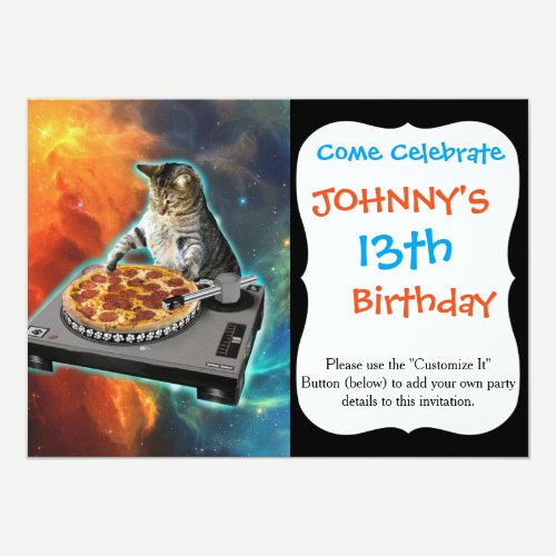 Cat dj with disc jockey's sound table invitation