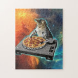 """Cat dj with disc jockey&#39;s sound table jigsaw puzzle<br><div class=""""desc"""">cat memes , funny cats , disc jockey, party meme music sound,  galaxy purple cosmic disco,  universe cats cute pet , kitten colorful feline cat  , animal ginger pets animals ,  kitty adorable fluffy beautiful,  young domestic happy tabby , </div>"""