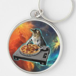Cat dj with disc jockey's sound table keychain