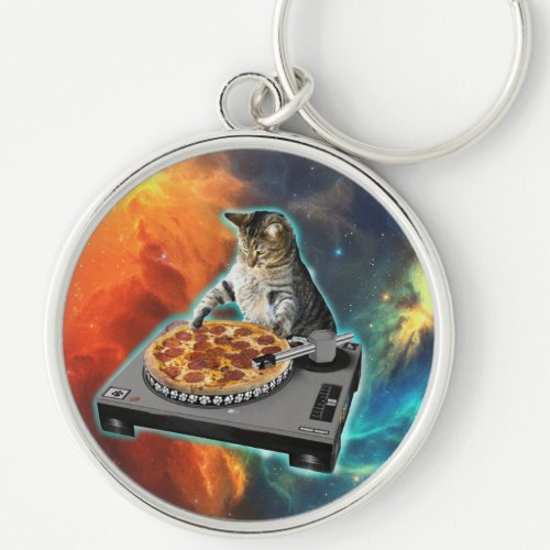 Cat dj with disc jockey's sound table keychain